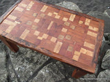 Unique Reclaimed Tsunami Wood Mosaic Coffee Table Handmade In Constitucion Chile