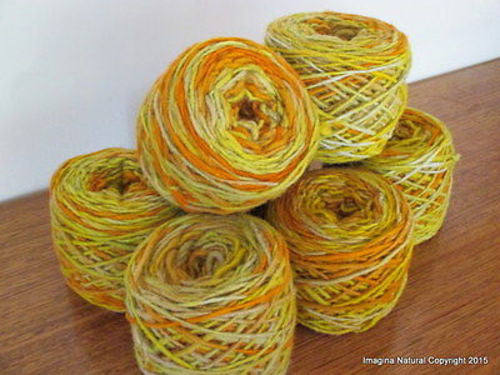 100% Pure Natural Chilean Wool Yarn, Handmade Knitting Hand Dyed Skein Araucania (Multicolour Orange Beige) - Imagina Natural