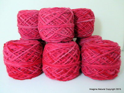 100% Pure Chilean Wool Yarn handmade 100g knitting Red Pink Mix Araucania - Imagina Natural