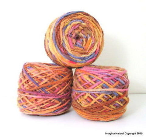 100% Pure Natural Chilean Wool Yarn, Handmade Knitting Hand Dyed Skein Araucania (Purple Brown Yellow) - Imagina Natural
