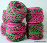 100% Pure Natural Chilean Wool Yarn Handmade 100g knitting Pink Green Mix Skein - Imagina Natural