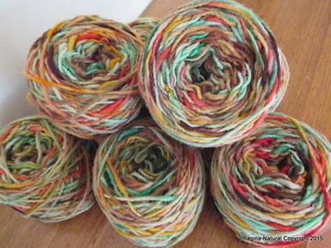100% Pure Natural Chilean Wool Yarn, Handmade Knitting Hand Dyed Skein Araucania (Multicolour Pastel) - Imagina Natural