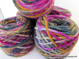 100% Pure Natural Chilean Wool Yarn, Handmade Knitting Hand Dyed Skein Araucania (MultiColour Purple Grey Pink) - Imagina Natural