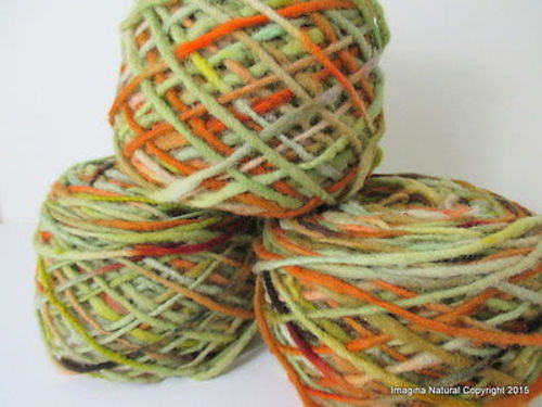100% Pure Natural Chilean Wool Yarn, Handmade Knitting Hand Dyed Skein Araucania (Green Orange Brown) - Imagina Natural