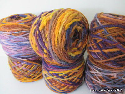 100% Pure Chilean Wool Yarn handmade 100g knitting Purple Yellow Beige Araucania