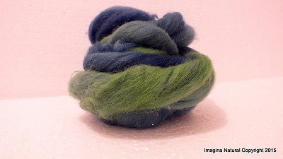 50g Blue Multicolour Roving Corriedale Wool Handmade Spinning Felting Araucania - Imagina Natural
