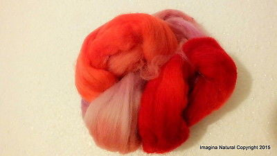 50g Red Multicolour Roving Corriedale Wool Handmade Spinning Felting Araucania - Imagina Natural