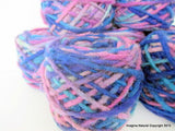 100% Pure Natural Chilean Wool Yarn, Handmade Knitting Hand Dyed Skein Araucania (Blue Purple Light Blue Mix)
