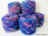 100% Pure Natural Chilean Wool Yarn, Handmade Knitting Hand Dyed Skein Araucania (Blue Purple Light Blue Mix) - Imagina Natural