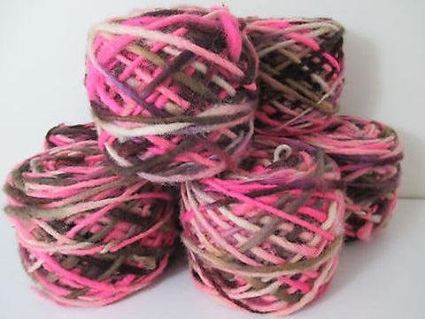 100% Pure Natural Chilean Wool Yarn, Handmade Knitting Hand Dyed Skein Araucania (Pink Brown Beige Mix) - Imagina Natural