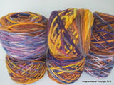 100% Pure Natural Chilean Wool Yarn, Handmade Knitting Hand Dyed Skein Araucania (Multicolour Purple Yellow Beige)