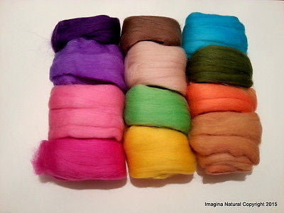 Pack of 12 Multicolour Balls of Merino Roving Wool, Felting, Weaving, Crafting - Imagina Natural