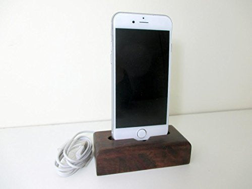 Iphone 6S or Iphone 6S Plus Charger Chilean Oak Wood Stand, Handmade Wooden Cell Phone Docking Station, USB Lightning Cable Holder Apple - Imagina Natural