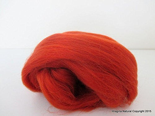Free Shipping Autumn Red Brown Handmade Merino Roving Wool Hand Spinning Felting Fibre Araucania Craft Art Chilean Knitting Chunky 18 Micron - Imagina Natural