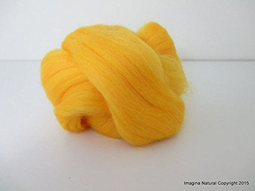 Free Shipping Yellow Handmade Merino Roving Wool Hand Spinning Felting Fibre Araucania Craft Art Chilean Knitting Chunky 18 Micron - Imagina Natural
