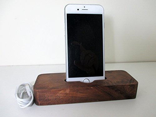 Reclaimed Tsunami Wood Cell Phone Dock Stand Wooden Phone Docking Station Chilean Oak iPhone Dock - Imagina Natural