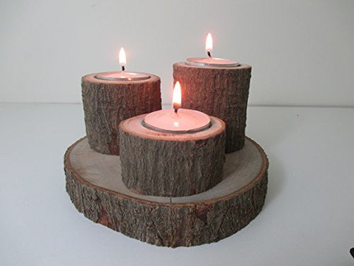 Natural Handmade Avocado Wood 3 Tea light triple Candle Holder Made from Reclaimed Chilean Avocado Wood. Candelabra, Candlestick, Tealight - Imagina Natural