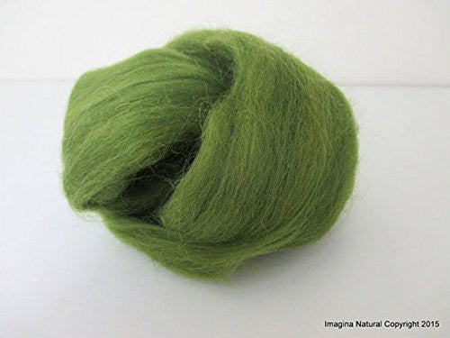 Free Shipping Dark Green Handmade Merino Roving Wool Hand Spinning Felting Fibre Araucania Craft Art Chilean Knitting Chunky 18 Micron - Imagina Natural