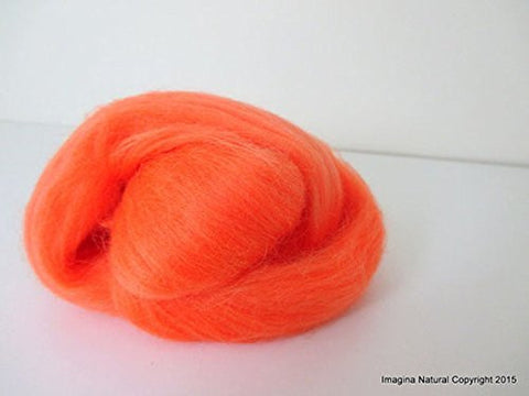 Free Shipping Orange Handmade Merino Roving Wool Hand Spinning Felting Fibre Araucania Craft Art Chilean Knitting Chunky 18 Micron - Imagina Natural