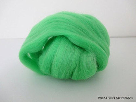 Light Green Handmade Merino Roving Wool, for Hand Spinning, Felting.Craft Art Chilean Knitting Chunky 18 Microns Merino - Imagina Natural