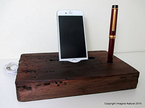 Reclaimed Tsunami Wood Phone Dock Stand Wooden Phone Docking Station Rauli Reclaimed Wood iPhone Dock Cell Phone Cable holder Iphone 3 4 5 6 - Imagina Natural