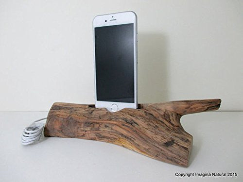 iPhone or Cellphone Driftwood Stand Wooden iPhone Docking Station Reclaimed Drift Wood iPhone Dock Wooden iPhone Cable holder Iphone 3 4 5 6 - Imagina Natural