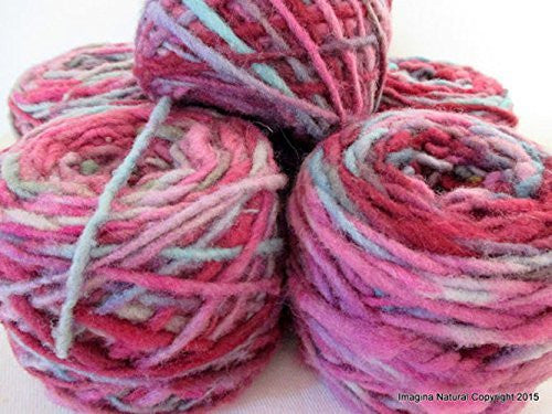 Limited Edition Handspun Hand dyed yarn Pure Bulky Chilean Wool Knitting Multicolour Araucania Chunky Skein Pink Lilac Blue Grey 100g 3.5oz - Imagina Natural