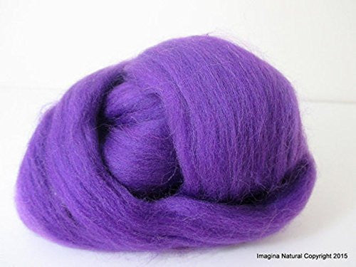Free Shipping Purple / Violet Handmade Merino Roving Wool Hand Spinning Felting Fibre Araucania Craft Art Chilean Knitting Chunky 18 Microns - Imagina Natural