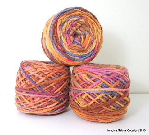 Limited Edition Handspun Hand dyed yarn Pure Bulky Chilean Wool Knitting Multicolour Araucania Chunky Skein Purple Brown Yellow 100g 3.5oz - Imagina Natural