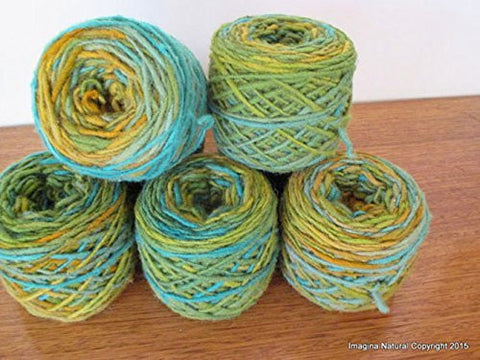Limited Edition Handspun Hand dyed yarn Pure Bulky Chilean Wool Knitting Multicolour Araucania Chunky Skein Blue Green shades 100g 3.5oz - Imagina Natural