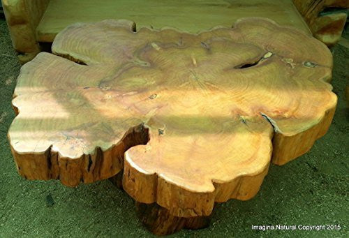 Large Naturally Unique Cypress Tree Trunk Handmade Coffee Table - Log Rustic Chilean - Free International Shipping. - Imagina Natural