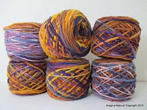 Limited Edition Handspun Hand dyed yarn Bulky Chilean Wool Knitting Multicolour Araucania Chunky Skein Purple Yellow Blue Violet 100g 3.5oz - Imagina Natural