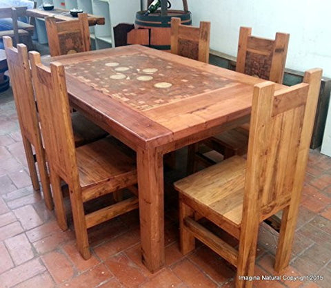 Handmade Mosaic Dining Table With 6 Chairs   Made From Reclaimed Wood    Imagina Natural