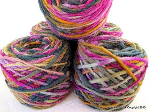 Limited Edition Handspun Hand dyed yarn Pure Bulky Chilean Wool Knitting Multicolour Araucania Chunky Skein Purple Yellow Grey 100g 3.5oz