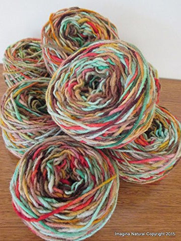 Unique Handspun 100% Pure Natural Chilean Wool Yarn handmade 100g 3.5oz Knitting Multicolour Araucania Skein Red, Green, Yellow, Pink Shades - Imagina Natural