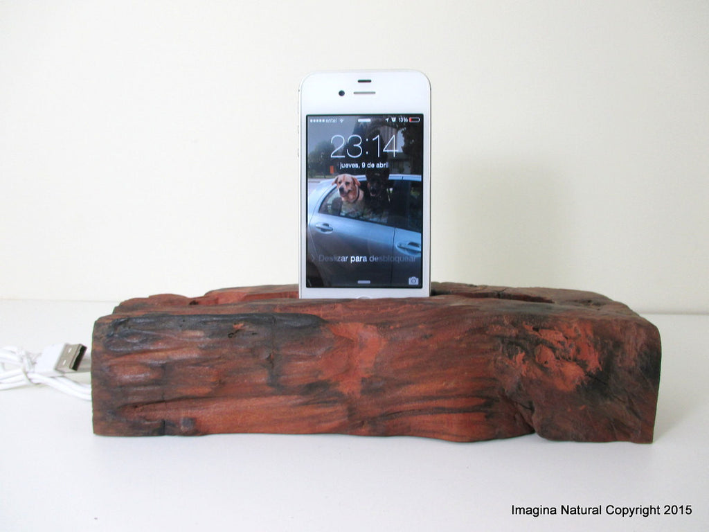 Tsunami Wood iPhone Stand Wooden iPhone Docking Station Rauli Reclaimed Wood iPhone Dock Wooden iPhone Cable holder Iphone 3 4 5 6 also Ipad - Imagina Natural