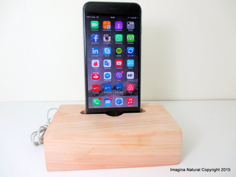 iPhone 5 Charger Cypress Wood Stand, Wooden iPhone 5 Docking Station, Cypress Chilean Incense Wood iPhone 5 Dock Wooden, Cable holder - Imagina Natural