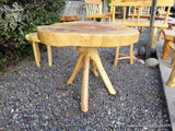 Cypress Handmade Slab Casual Dining Table - Log Rustic Chilean - Free International Shipping Included