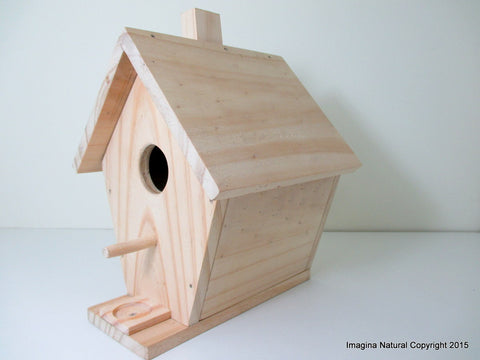Wooden Natural handmade birdhouse and Nestbox - Un painted - Non Toxic - Bird Box - Ready to Decorate or Ready to use! - Imagina Natural