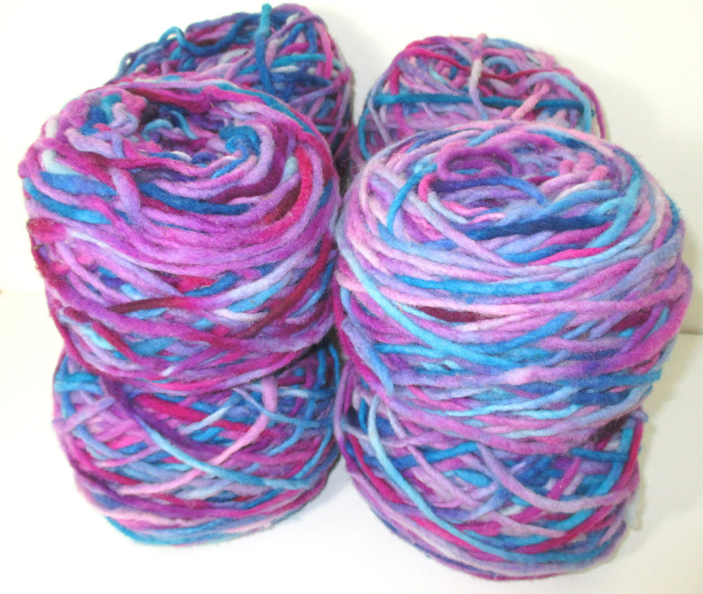 Limited Edition Handspun Hand dyed yarn Bulky Chilean Wool Knitting Multicolour Araucania Chunky Skein Blue Lilac Purple Grey 100g 3.5oz - Imagina Natural