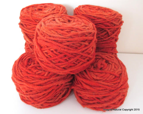 Limited Edition Handspun Hand dyed yarn Bulky Chilean Wool Knitting Multicolour Araucania Chunky Skein Red -Orange 100g 3.5oz - Imagina Natural