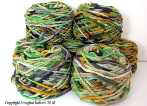 Limited Edition Handspun Hand dyed yarn Bulky Chilean Wool Knitting Multicolour Araucania Chunky Skein Green Yellow White Black 100g 3.5oz - Imagina Natural