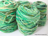 Limited Edition Handspun Hand dyed yarn Bulky Chilean Wool Knitting Multicolour Araucania Chunky Skein Green Light Green100g 3.5oz - Imagina Natural
