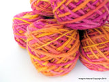 Limited Edition Handspun Hand dyed yarn Bulky Chilean Wool Knitting Multicolour Araucania Chunky Skein Pink-yellow 100g 3.5oz