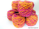 Limited Edition Handspun Hand dyed yarn Bulky Chilean Wool Knitting Multicolour Araucania Chunky Skein Pink-yellow 100g 3.5oz - Imagina Natural