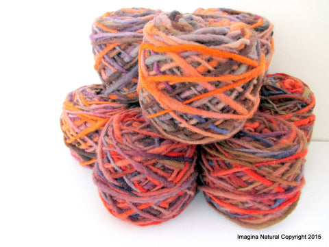 Limited Edition Handspun Hand dyed yarn Bulky Chilean Wool Knitting Multicolour Araucania Chunky Skein Orange Purple Brown 100g 3.5oz - Imagina Natural