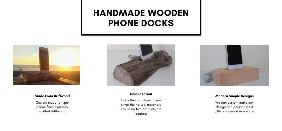 Handmade drift wood phone docks
