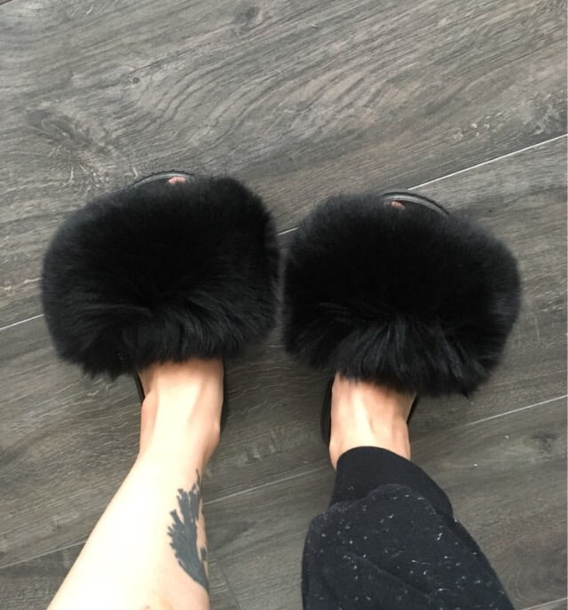 Fur Slides - black