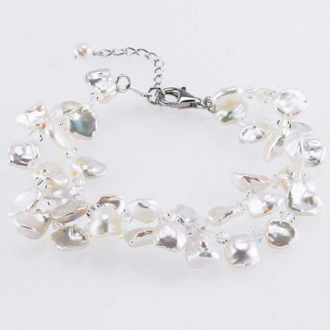 Double-Row Freshwater Keshi Pearls and Swarovski® Crystals Bracelet