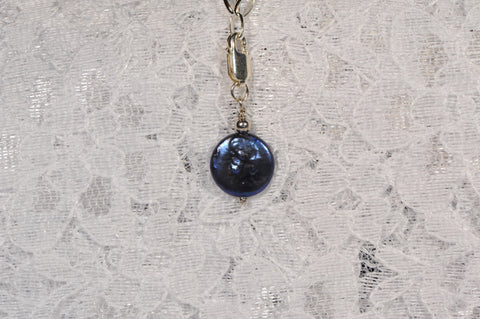 Freshwater Dyed Black Coin Pearl Charm